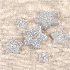 Bouton étoile paillettée argent 11cm
