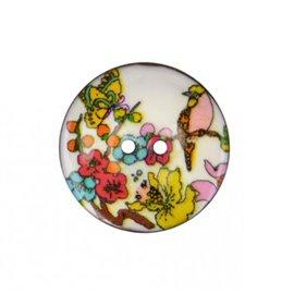 Bouton coco décoré fleurs et oiseau 23mm