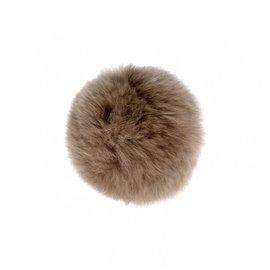 Pompon fourrure lapin 7cm taupe