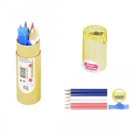 Kit de 6 crayons de marquage 2 bleus 2 rouges 2 blancs, taille crayons intégré