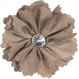 Broche fleur taupe et strass