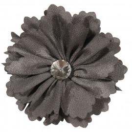Broche fleur grise et strass