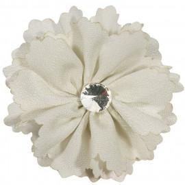 Broche fleur écru et strass