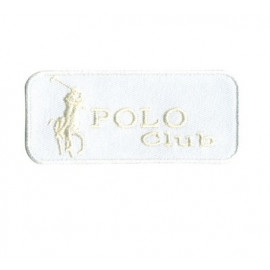 Ecusson Polo Club blanc thermocollant 7x3 cm