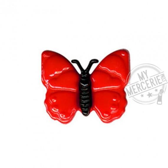 Bouton en forme de Papillon couleur Rouge