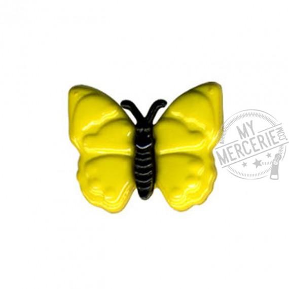 Bouton en forme de Papillon couleur Jaune