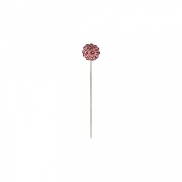 Boîte de 8 épingles boules strass 10mm x 50mm rose