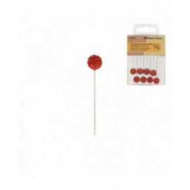 Boîte de 8 épingles boules strass 10mm x 50mm rouge