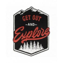 Ecusson thermocollant Get Out & Explore noir blanc 9 cm x 7 cm