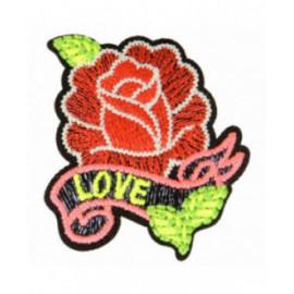 Ecusson thermocollant luminescent rose & love 4 cm x 5 cm