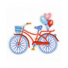Ecusson thermocollant vélo bleu et rouge 3,5 cm x 6 cm