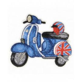 Ecusson thermocollant scooter bleu anglais 3,5 cm x 6 cm