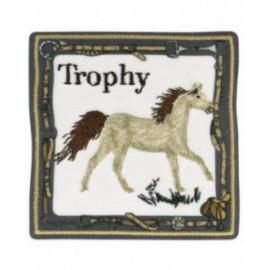 Ecusson thermocollant trophée cheval gris 6 cm x 6 cm