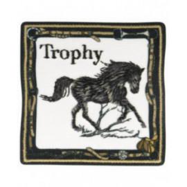 Ecusson thermocollant trophée cheval noir 6 cm x 6 cm