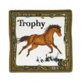 Ecusson thermocollant trophée cheval kaki 6 cm x 6 cm