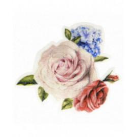 Ecusson thermocollant bouquet de roses avec petites fleurs 5,5 cm x 6 cm