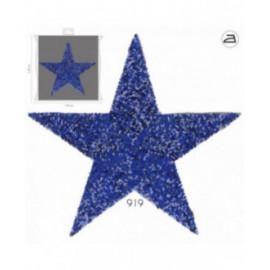 Ecusson thermocollant grand format étoile en sequins Bleu 25 cm x 31 cm