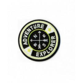 Ecusson thermocollant luminescent adventure explorer noir 60mm