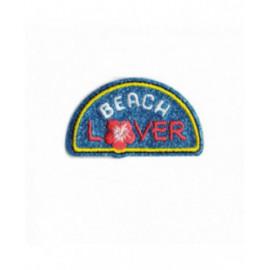 Ecusson thermocollant pailleté Beach lover 60mm x35mm