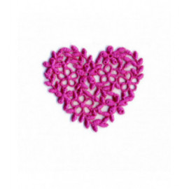 Ecusson thermocollant cœur broderie fuschia 40mm x45mm