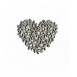Ecusson thermocollant cœur broderie gris 40mm x45mm