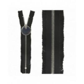 Fermeture non séparables à franges et zip rond noir 20mm