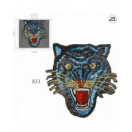 Ecusson thermocollant XL tigre à sequins bleu 22cm x 23cm