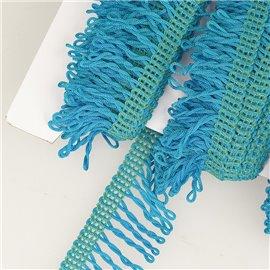 Planchette 25m Frange déco non lavable Bleu Acier 32mm