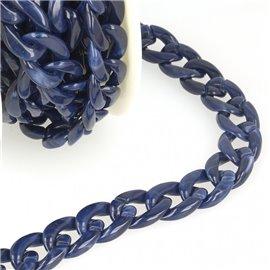 Bobine 5m Chaîne plastique brillant Bleu marine 20mm