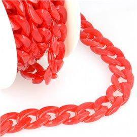 Bobine 5m Chaîne plastique brillant Rouge 20mm