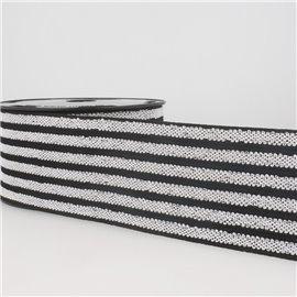 Bobine 10m Elastique ceinture stripes/rayures Noir/blanc/noir 50mm