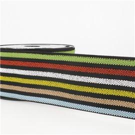 Bobine 10m Elastique ceinture stripes/rayures Multicolore 50mm