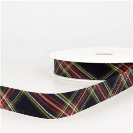 Disquette 25m Biais écossais Noir 20mm
