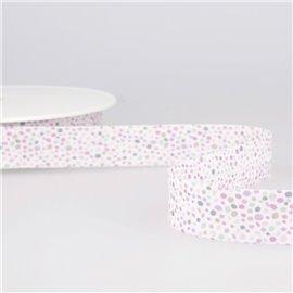 Disquette 25m Biais imprimé confettis Rose Clair 20mm