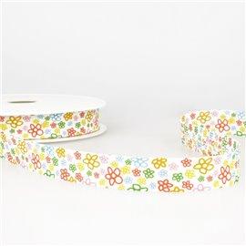 Disquette 25m Biais imprimé fleurs multicolore 20mm