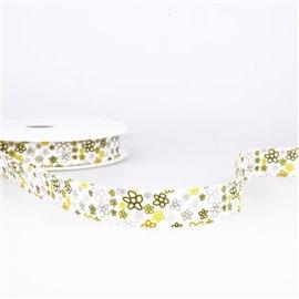 Disquette 25m Biais imprimé fleurs Jaune 20mm