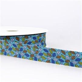 Disquette 25m Biais imprimé feuilles Bleu Acier 27mm