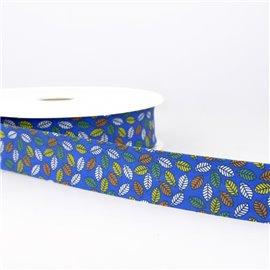 Disquette 25m Biais imprimé feuilles Bleu roy 27mm