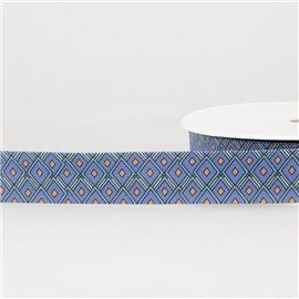 Disquette 25m Biais imprimé vitraux Bleu Acier 27mm