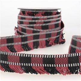 Bobine 15m Galon franges stripes/rayures Rouge/noir 35mm