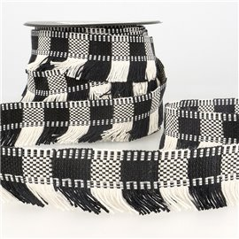 Bobine 15m Galon franges stripes/rayures Noir/blanc 35mm