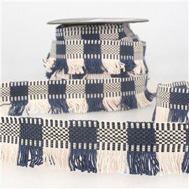 Bobine 15m Galon franges stripes/rayures Marine/blanc 35mm