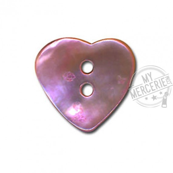 Bouton Nacre en forme de Coeur couleur Mauve