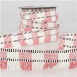 Bobine 15m Galon franges stripes/rayures Rose Clair 35mm