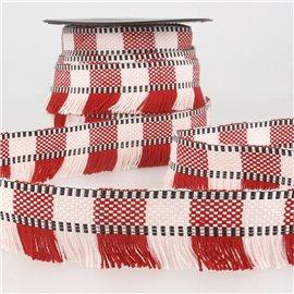 Bobine 15m Galon franges stripes/rayures Rouge 35mm