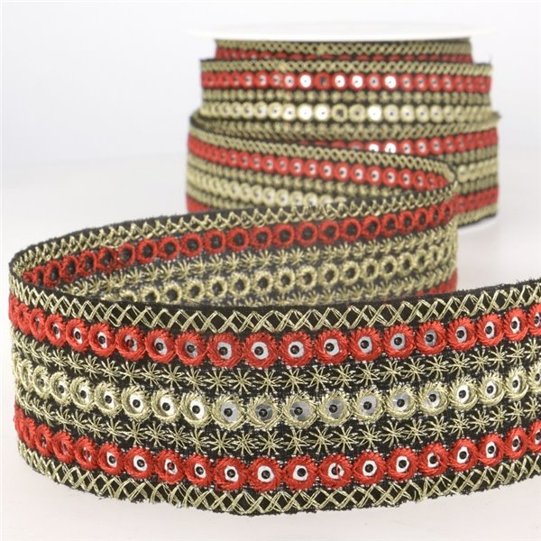 Bobine 10m Galon ronds brodés Rouge/or 38mm