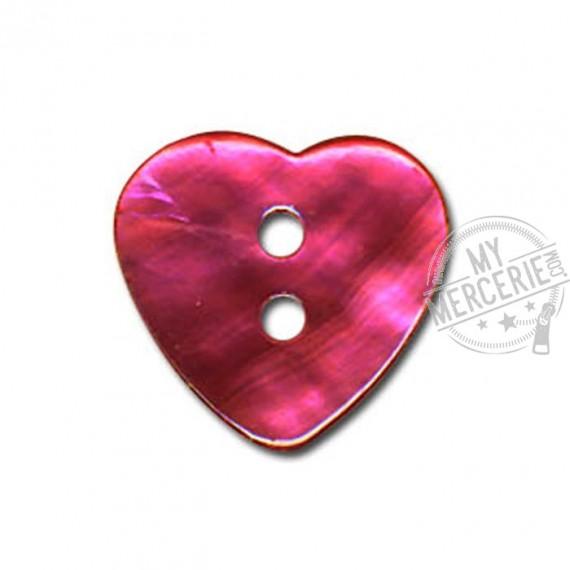 Bouton Nacre en forme de Coeur couleur Fuchsia
