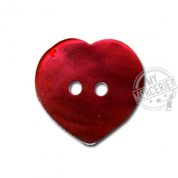 Bouton Nacre en forme de Coeur couleur Rouge