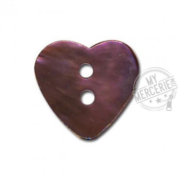 Bouton Nacre en forme de Coeur couleur Prune