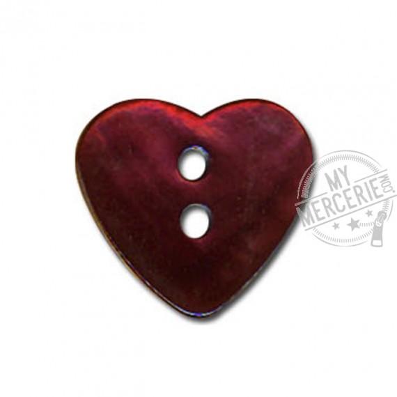 Bouton Nacre en forme de Coeur couleur Bordeaux